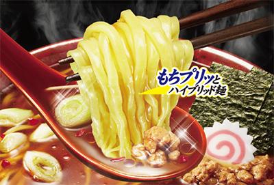 日清 HYBRID 太麺堂々 ピリ辛旨だれ醤油シズル画像